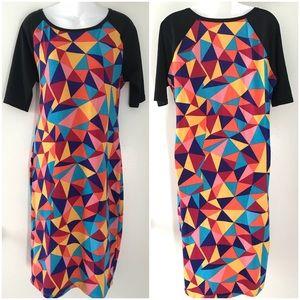 LuLaRoe Sz L Geometric Multi Color Dress Sz Large